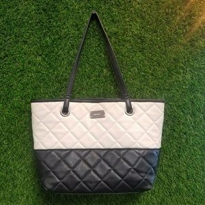 Nine West Black and White Leather Quilted Purse